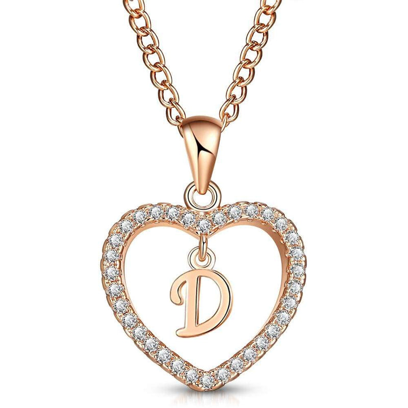 Giorgio Bergamo Jewelry D Rose Gold Plated Crystal Heart Initial Pendant Necklace MJIPD04