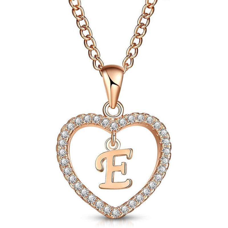 Giorgio Bergamo Jewelry E Rose Gold Plated Crystal Heart Initial Pendant Necklace MJIPE05