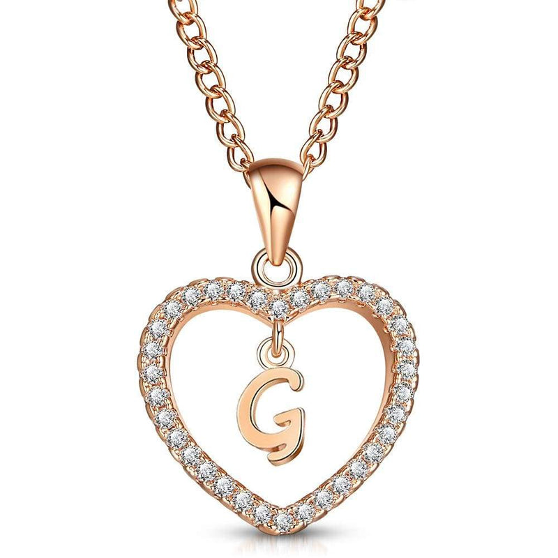 Giorgio Bergamo Jewelry G Rose Gold Plated Crystal Heart Initial Pendant Necklace MJIPG07
