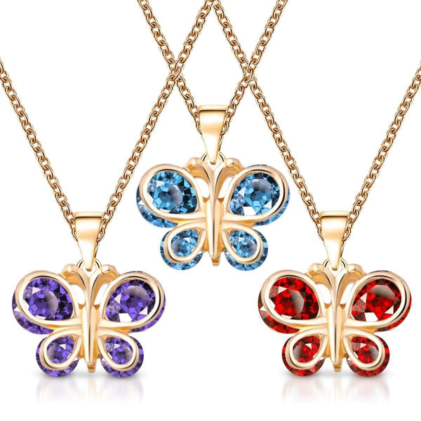 Giorgio Bergamo Jewelry Gold Plated Crystal Butterfly Childrens Pendant Necklace