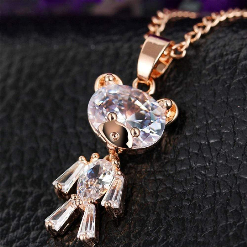 Giorgio Bergamo Jewelry Gold Plated Crystal Teddy Bear Childrens Pendant Necklace