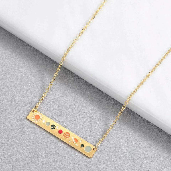 Giorgio Bergamo Jewelry Gold Plated Enamel Solar System Bar Necklace MJN5006