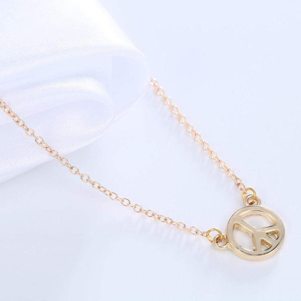 Giorgio Bergamo Jewelry Gold Plated Polished Peace Sign Pendant Necklace MJN5004