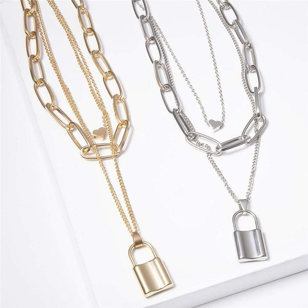 Giorgio Bergamo Jewelry Gold Plated Trendy Paper Clip Chain With Lock Layered Necklace