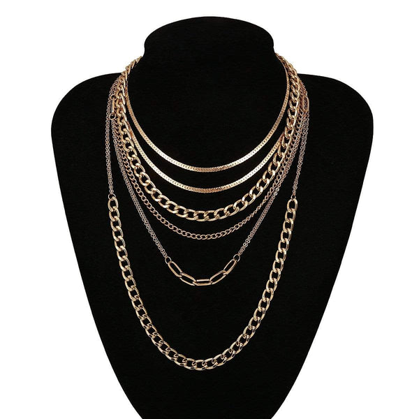 Giorgio Bergamo Jewelry Gold Plated Trendy Paper Clip Choker 6 Layers Chain Necklace 2pc Set MJ6NCKG10
