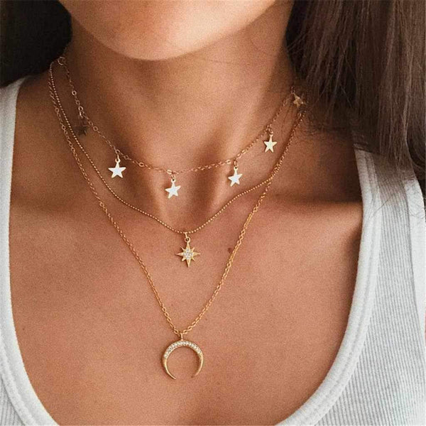 Giorgio Bergamo Jewelry Gold Plated Trendy Star & Moon Layered Charm Choker Necklace MJCS5456