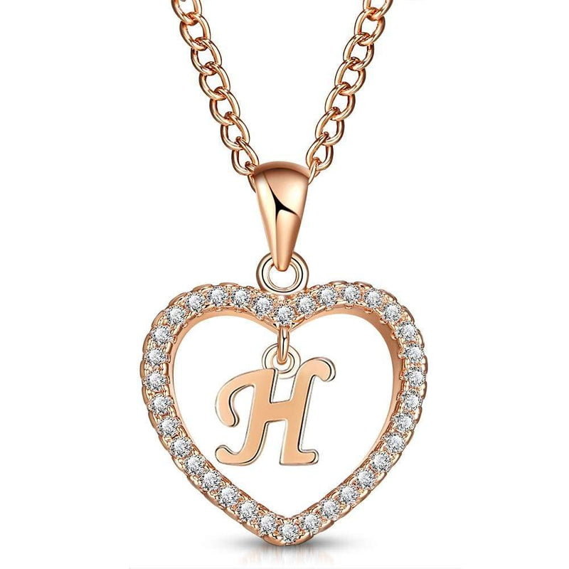 Giorgio Bergamo Jewelry H Rose Gold Plated Crystal Heart Initial Pendant Necklace MJIPH08