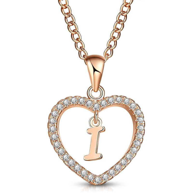 Giorgio Bergamo Jewelry I Rose Gold Plated Crystal Heart Initial Pendant Necklace MJIPI09