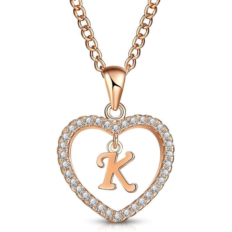 Giorgio Bergamo Jewelry K Rose Gold Plated Crystal Heart Initial Pendant Necklace MJIPK11