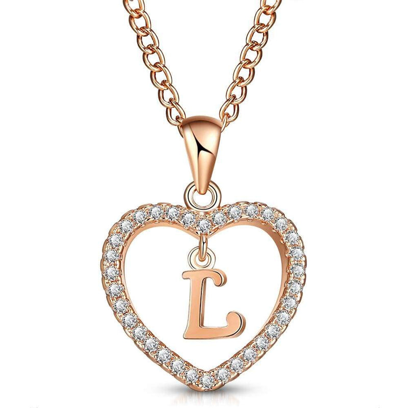 Giorgio Bergamo Jewelry L Rose Gold Plated Crystal Heart Initial Pendant Necklace MJIPL12