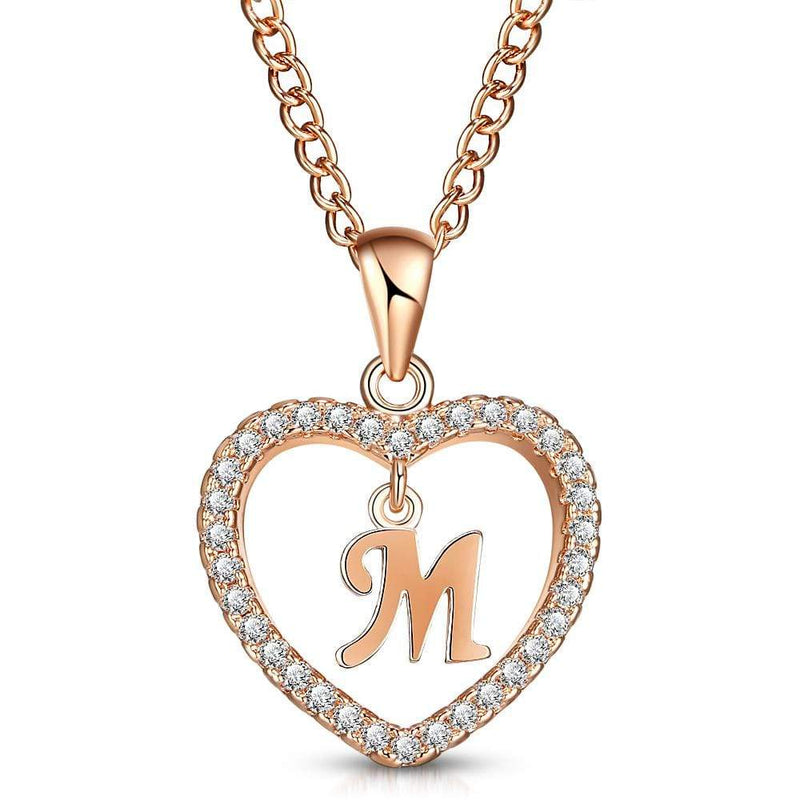 Giorgio Bergamo Jewelry M Rose Gold Plated Crystal Heart Initial Pendant Necklace MJIPM13