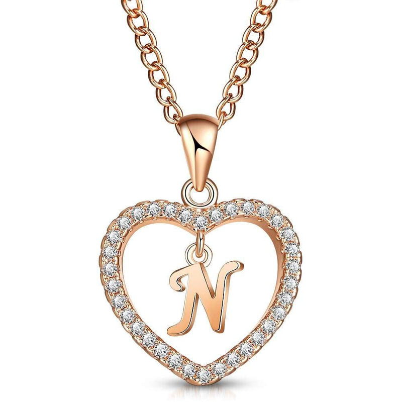 Giorgio Bergamo Jewelry N Rose Gold Plated Crystal Heart Initial Pendant Necklace MJIPN14