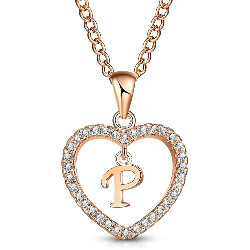 Giorgio Bergamo Jewelry P Rose Gold Plated Crystal Heart Initial Pendant Necklace MJIPP16