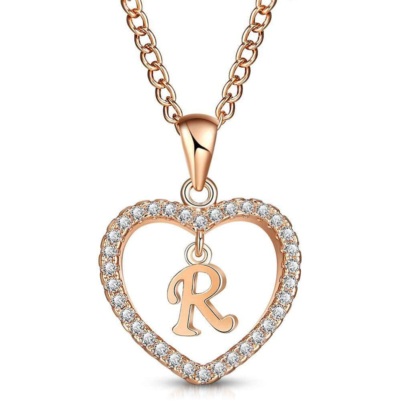 Giorgio Bergamo Jewelry R Rose Gold Plated Crystal Heart Initial Pendant Necklace MJIPR18