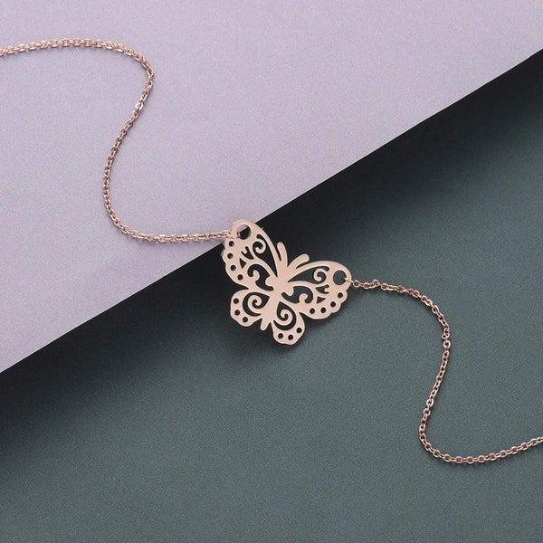 Giorgio Bergamo Jewelry Rose Gold Plated Butterfly Cut Out Necklace MJN5002