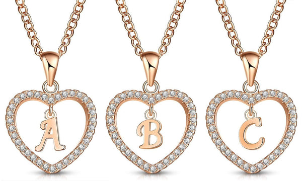 Giorgio Bergamo Jewelry Rose Gold Plated Crystal Heart Initial Pendant Necklace