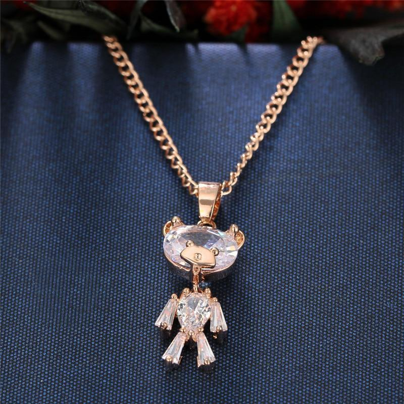 Giorgio Bergamo Jewelry Rose Gold Plated Crystal Teddy Bear Childrens Pendant Necklace MJP5222