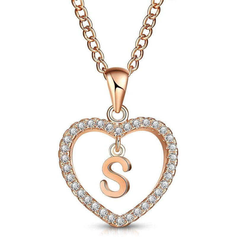 Giorgio Bergamo Jewelry S Rose Gold Plated Crystal Heart Initial Pendant Necklace MJIPS19
