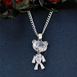 Giorgio Bergamo Jewelry Silver Gold Plated Crystal Teddy Bear Childrens Pendant Necklace MJP5223