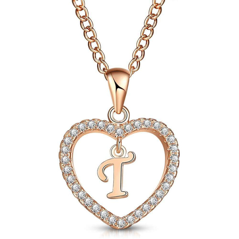 Giorgio Bergamo Jewelry T Rose Gold Plated Crystal Heart Initial Pendant Necklace MJIPT20