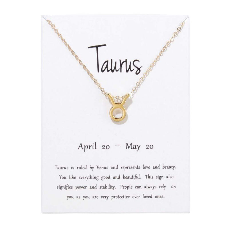 Giorgio Bergamo Jewelry Taurus Gold Plated Zodiac, Horoscope, Pendant Necklaces MJZP105