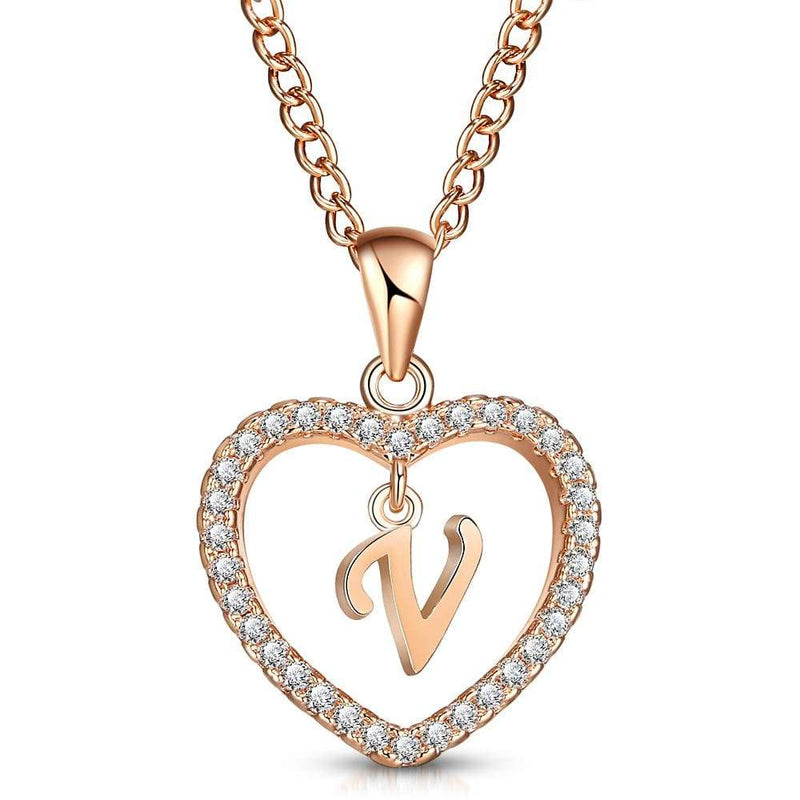 Giorgio Bergamo Jewelry V Rose Gold Plated Crystal Heart Initial Pendant Necklace MJIPV22