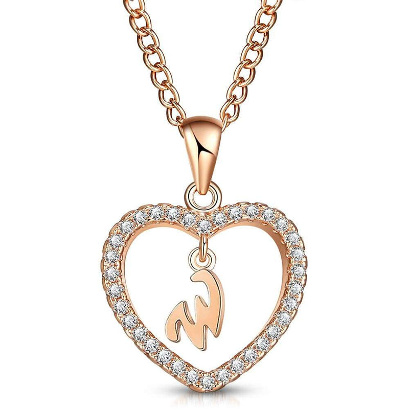 Giorgio Bergamo Jewelry W Rose Gold Plated Crystal Heart Initial Pendant Necklace MJIPW23