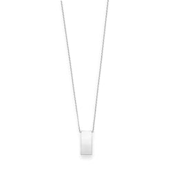 Giorgio Bergamo Jewelry White 14kt Gold Engraveable Vertical Bar Necklace WRC1437