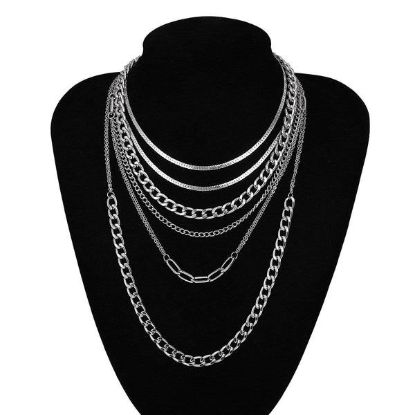 Giorgio Bergamo Jewelry White Gold Plated Trendy Paper Clip Choker 6 Layers Chain Necklace 2pc Set MJ6NCKW10