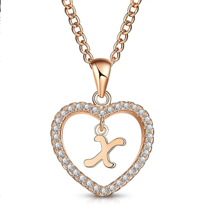 Giorgio Bergamo Jewelry X Rose Gold Plated Crystal Heart Initial Pendant Necklace MJIPX24