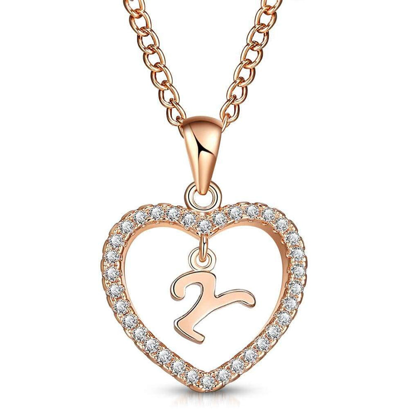 Giorgio Bergamo Jewelry Y Rose Gold Plated Crystal Heart Initial Pendant Necklace MJIPY25