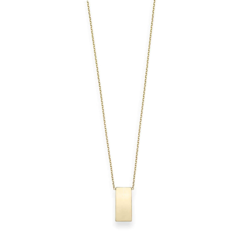 Giorgio Bergamo Jewelry Yellow 14kt Gold Engraveable Vertical Bar Necklace RC1437