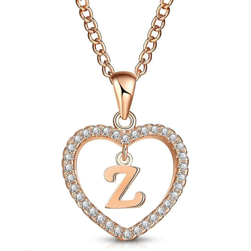Giorgio Bergamo Jewelry Z Rose Gold Plated Crystal Heart Initial Pendant Necklace MJIPZ26