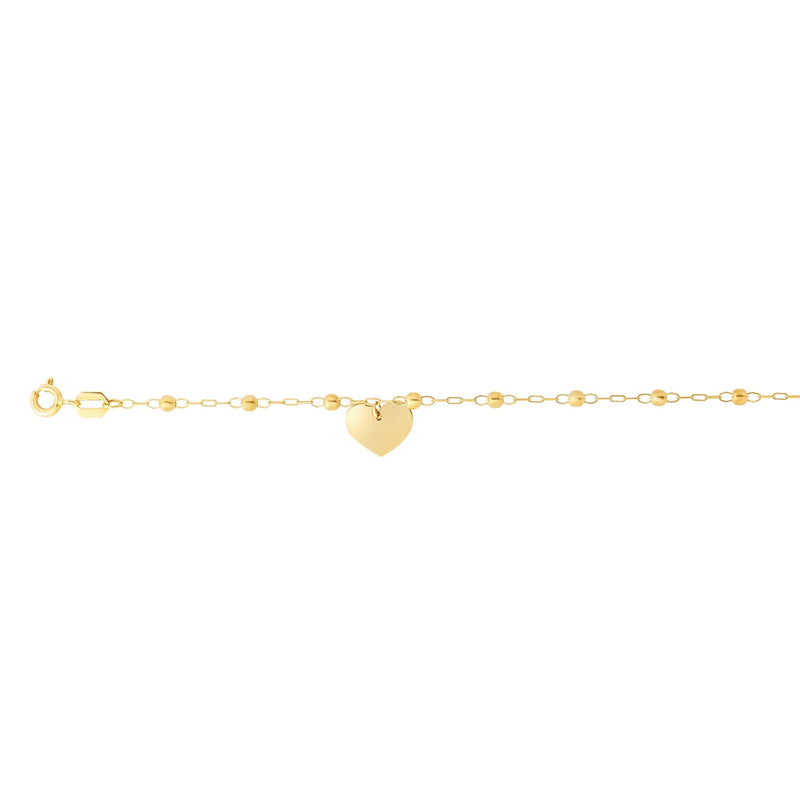 14K Yellow Gold Dangle Heart and Bead Station Ankle Bracelet