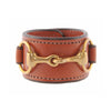 Classic Leather Bit Cuff with Brass Snaffle Bit