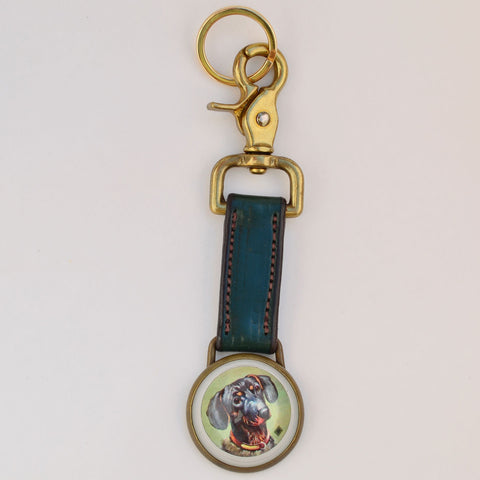 Large Key Ring Green Leather - Closeout Size