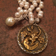 Antique Horseshoe Button on Freshwater Pearls from Goodsport by Sally Lowe