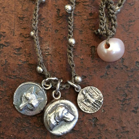 Diminutive Fox, Hound & St. Huberts Medal Necklace from Goodsport Favorites by Sally Lowe