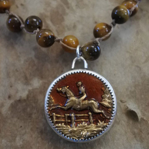 Brass Foxhunting Button on Tigers Eye