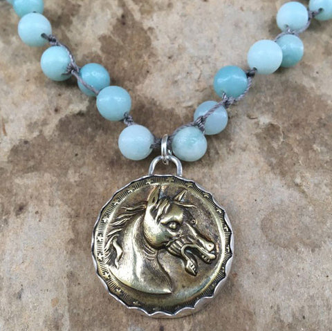 Brass Baroque Horse on Amazonite
