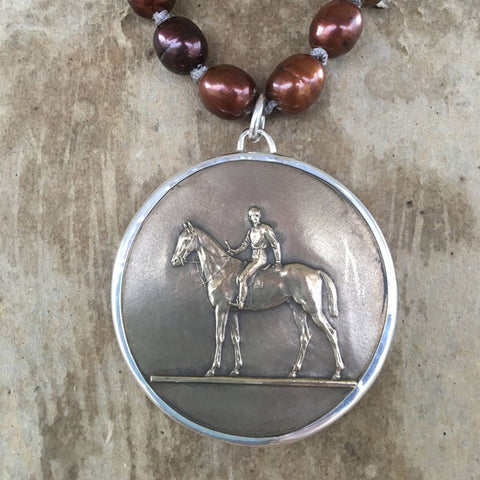 Horse Racing Medal on Copper Pearls from Goodsport by Sally Lowe