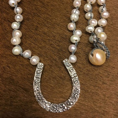 Stieff Repousse' Horse Shoe on Offset Knotted Freshwater Pearls from Goodsport by Sally Lowe