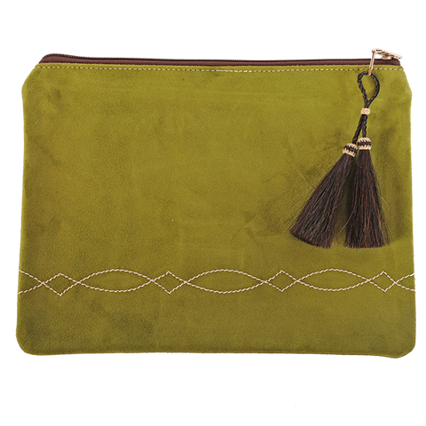 Suede Stitched Envelope with Double Horsehair Tassel