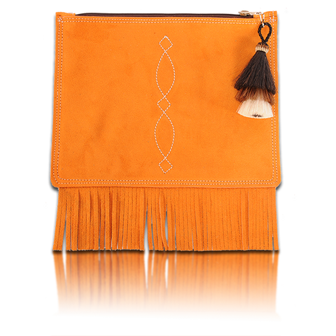 St Patrick's Day Suede Fringed Envelope with Tri-color Horsehair Tassel