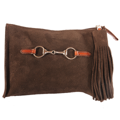 Suede Snaffle Clutch with Suede Tassel