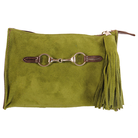 St Patrick's Day Suede Snaffle Clutch with Suede Tassel