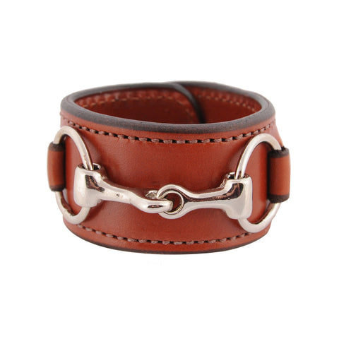 Classic Leather Bit Cuff with Stainless Steel Snaffle Bit
