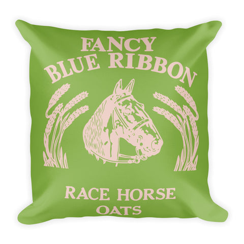 Blue Ribbon Horse Pillow - Greenery/Pale Dogwood