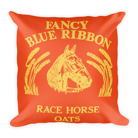 Blue Ribbon Horse Pillow - Flame/Primrose Yellow