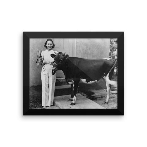 Rebecca Ray Designs - Champion cow - Framed - 3 Sizes - Poster - Made in America